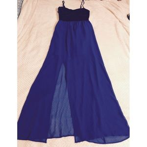Faux Leather and Blue Strapped Maxi Dress